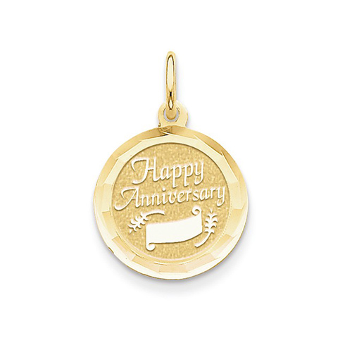 14kt Yellow Gold 5/8in Faceted Happy Anniversary Charm