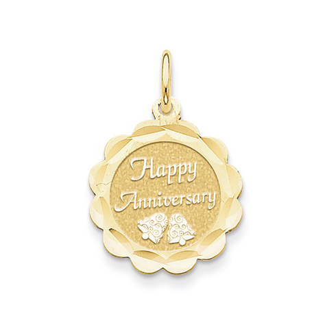 14kt Yellow Gold 5/8in Happy Anniversary Wedding Bells Charm