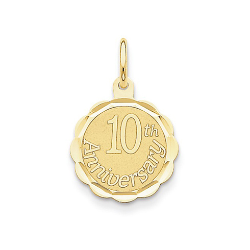 14kt Yellow Gold 5/8in Faceted 10th Anniversary Charm