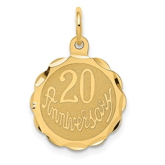 14kt Yellow Gold 5/8in Faceted 20th Anniversary Charm