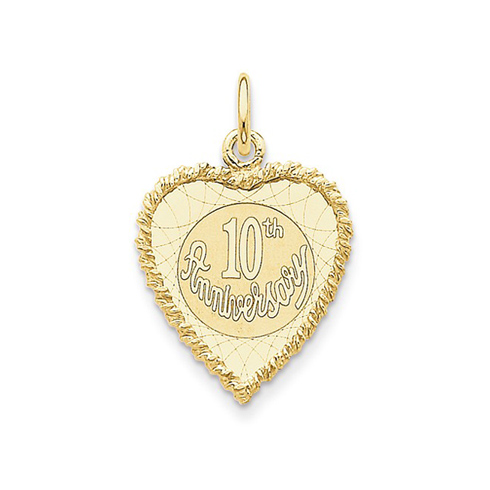 14kt Yellow Gold 3/4in Heart Shaped 10th Anniversary Charm