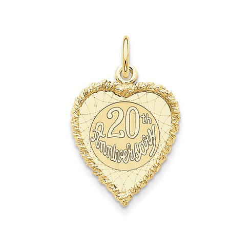 14kt Yellow Gold 3/4in Heart Shaped 20th Anniversary Charm