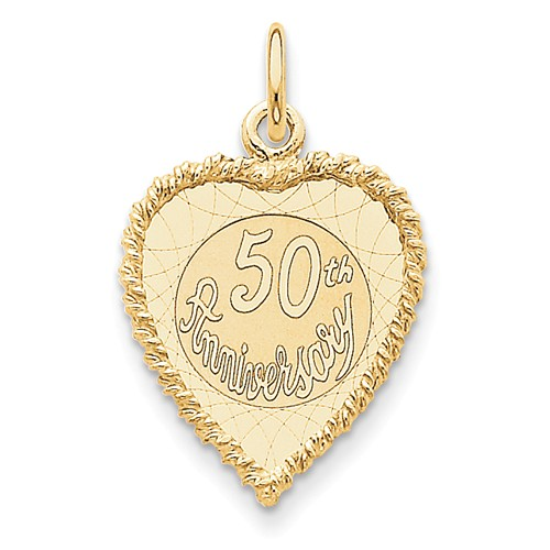 14kt Yellow Gold 3/4in Heart Shaped 50th Anniversary Charm