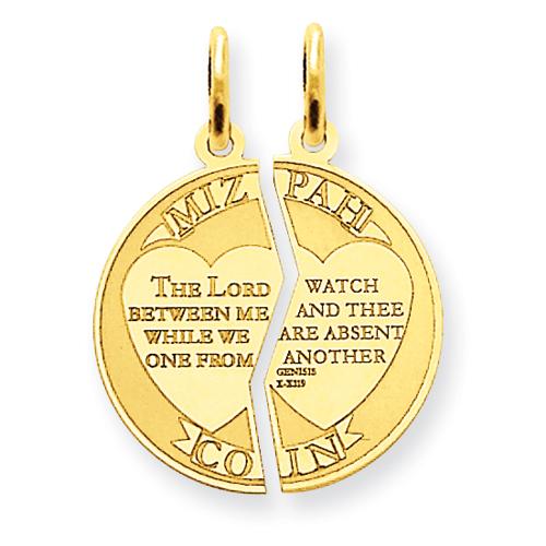 14kt Yellow Gold 5/8in Mizpah Charm