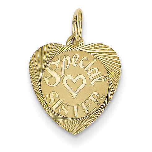 14kt Yellow Gold Special Sister Heart Charm