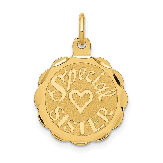 14kt Yellow Gold Round Special Sister Charm