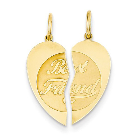 14kt Yellow Gold 5/8in Best Friend Heart Pendant
