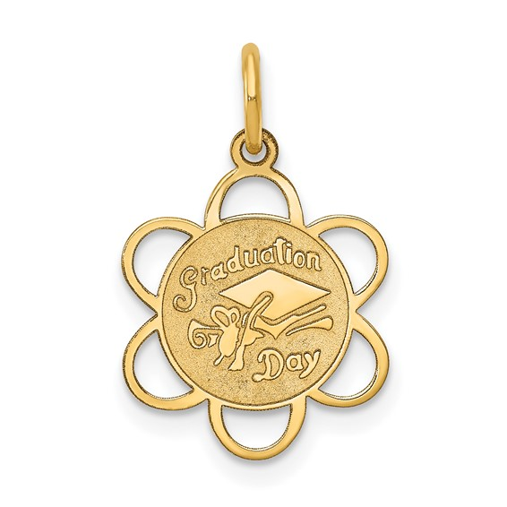 14kt Yellow Gold 1/2in Graduation Day Charm with Brocaded Edges