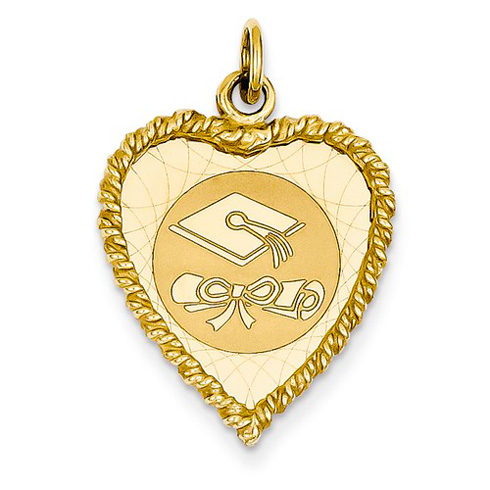 14kt Yellow Gold 3/4in Graduation Cap Heart Charm