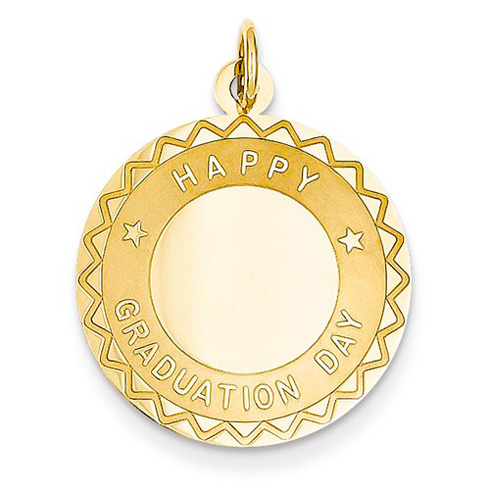 14kt Yellow Gold 3/4in Happy Graduation Day Charm