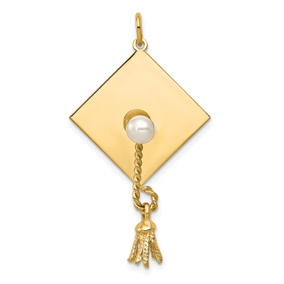 14kt Yellow Gold 1 3/8in Grad Cap with Freshwater Cultured Pearl Pendant