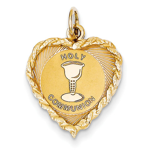 14kt 11/16in Holy Communion Heart Disc Charm