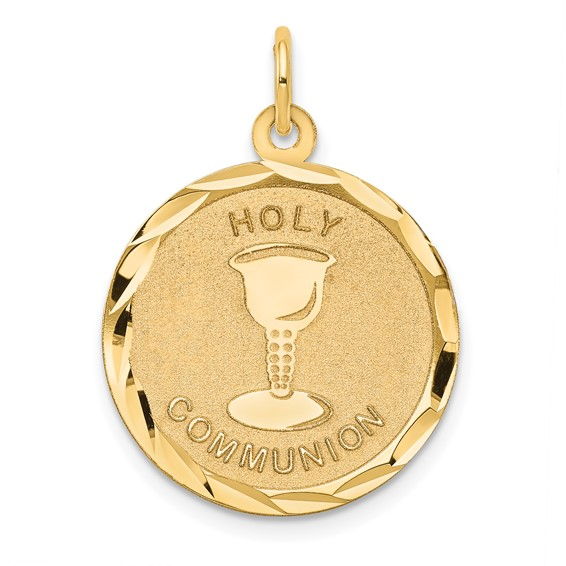 14kt 3/4in Holy Communion Disc Pendant