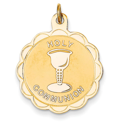 14kt 7/8in Holy Communion Disc Pendant