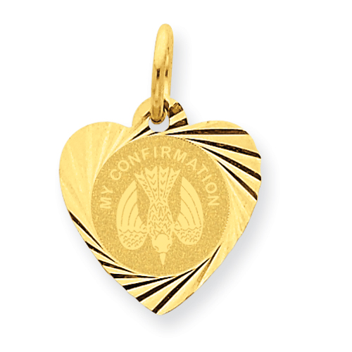 14k Yellow Gold 1/2in My Confirmation Heart Disc Charm