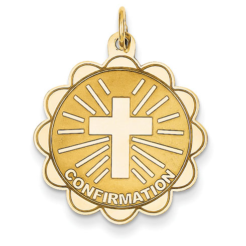 14kt 7/8in Confirmation Disc Pendant