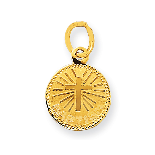 14kt Yellow Gold 3/8in Small Round Baptism Charm