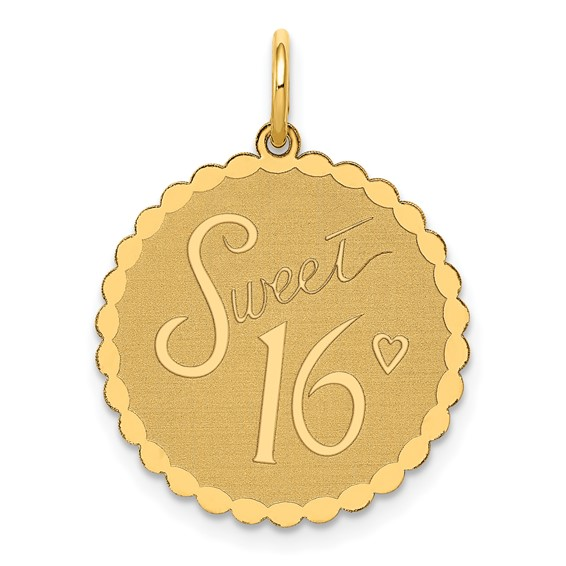 14kt Yellow Gold Round Faceted Sweet 16 Charm
