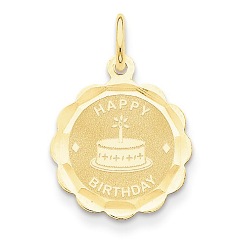 14kt Yellow Gold 1/2in Happy Birthday Charm