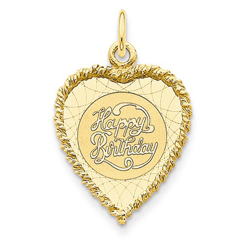 14kt Yellow Gold 7/8in Happy Birthday Heart Pendant
