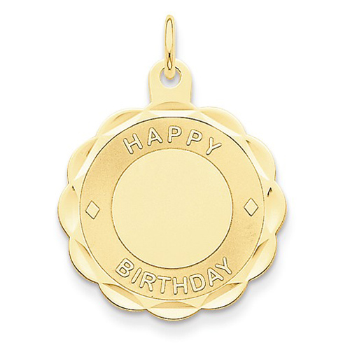 14kt Yellow Gold 7/8in Round Faceted Happy Birthday Pendant