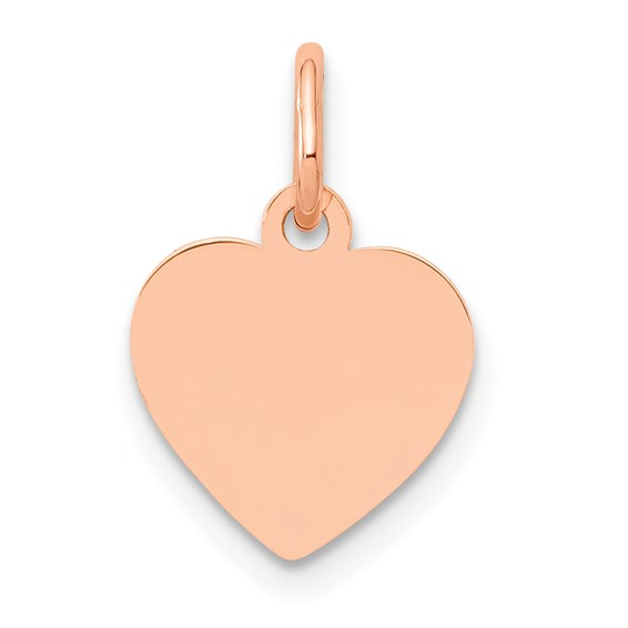 14kt Rose Gold 3/8in Flat Heart Charm