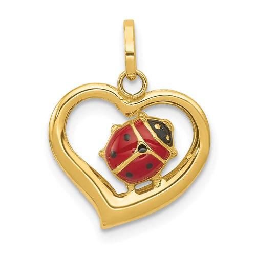 14kt Yellow Gold 1/2in Enamel Ladybug Heart Charm