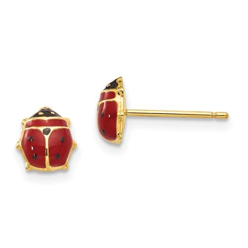 14kt Yellow Gold Enameled Ladybug Post Earrings
