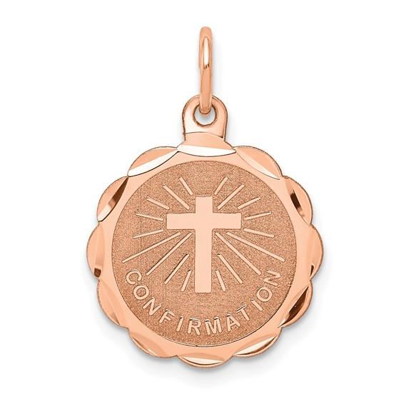 14k Rose Gold Confirmation Disc Charm 9/16in