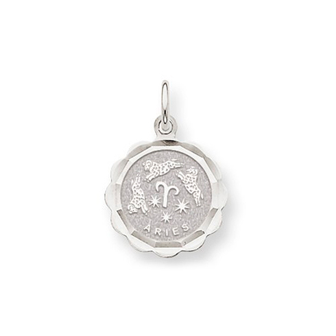 14kt White Gold Aries Scalloped Charm