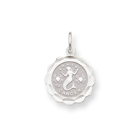 14kt White Gold Cancer Scalloped Charm
