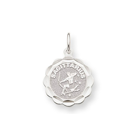 14kt White Gold Sagittarius Scalloped Charm
