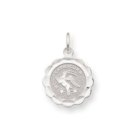 14kt White Gold Capricorn Scalloped Charm
