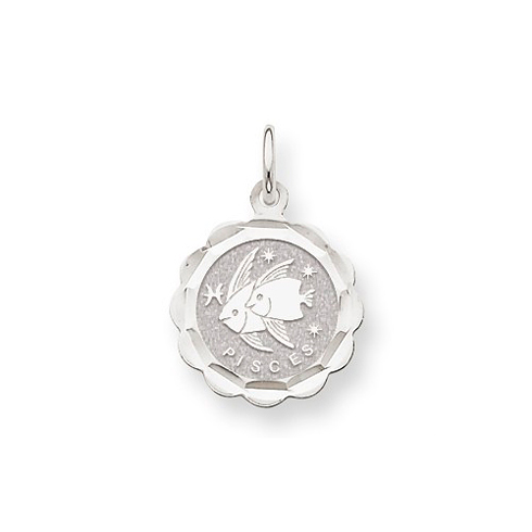 14kt White Gold Pisces Scalloped Charm