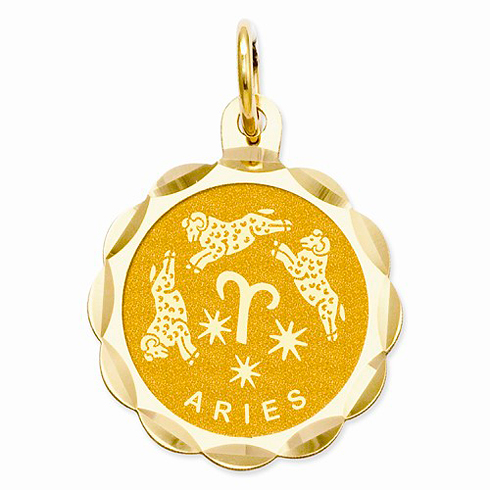 14kt Yellow Gold Aries Scalloped Charm