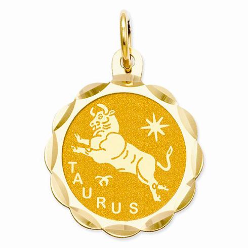 14kt Yellow Gold Taurus Scalloped Charm