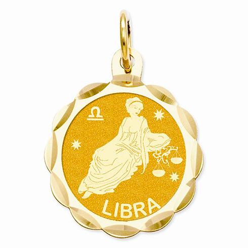 14kt Yellow Gold Libra Scalloped Charm
