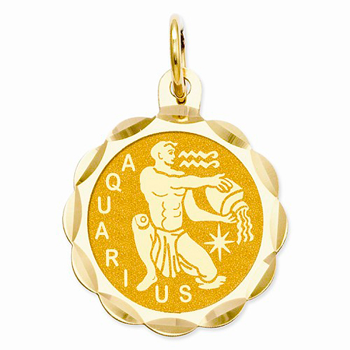14kt Yellow Gold Aquarius Scalloped Charm