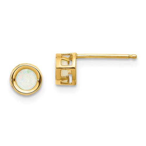 14kt Gold 4mm Opal Bezel Earrings