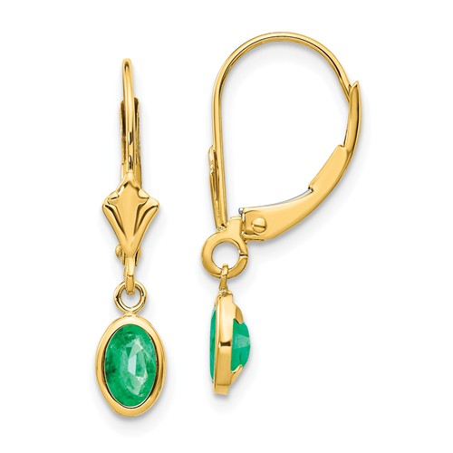 14k Yellow Gold 1 ct tw Oval Emerald Leverback Earrings