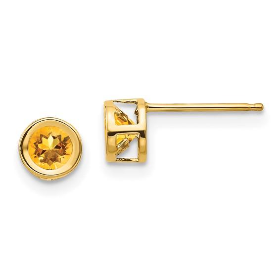 14kt Gold 4mm Citrine Bezel Earrings