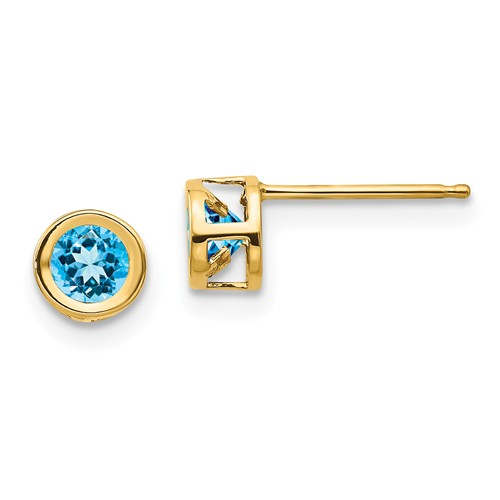 14kt Gold 4mm Blue Topaz Bezel Earrings