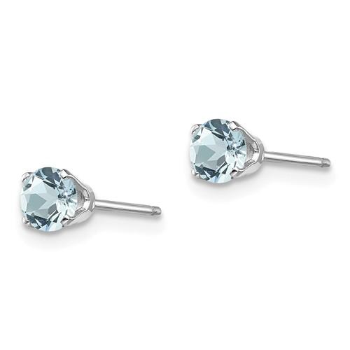 14kt White Gold 4mm Aquamarine Stud Earrings