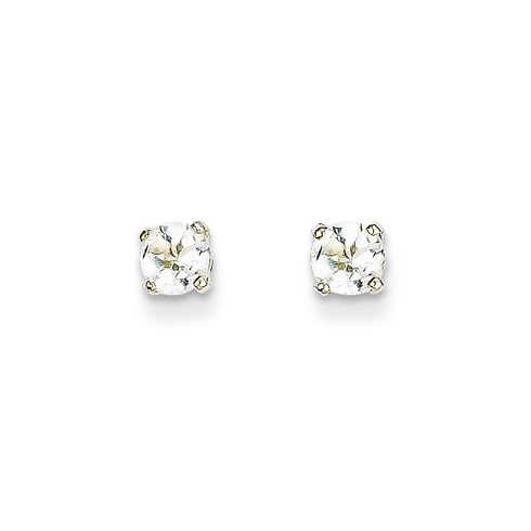 14kt White Gold 4mm White Topaz Stud Earrings