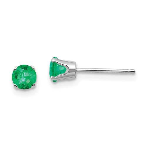 14kt White Gold 4mm Emerald Stud Earrings