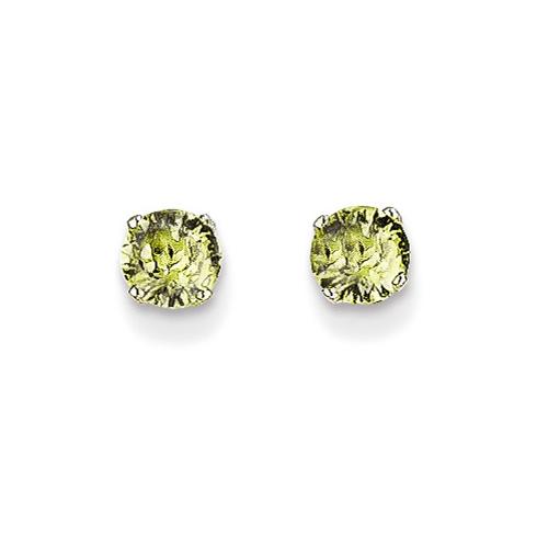 14kt White Gold 4mm Peridot Stud Earrings