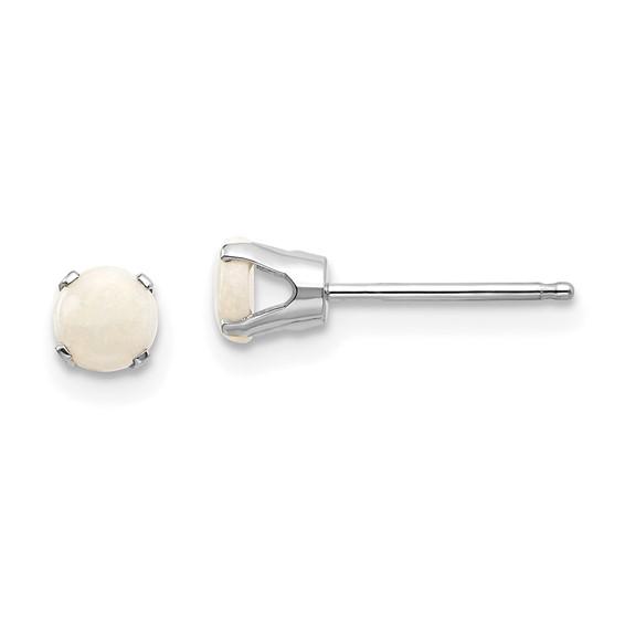 14kt White Gold 4mm Opal Stud Earrings