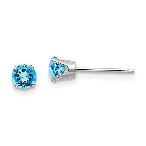 14kt White Gold 4mm Blue Topaz Stud Earrings