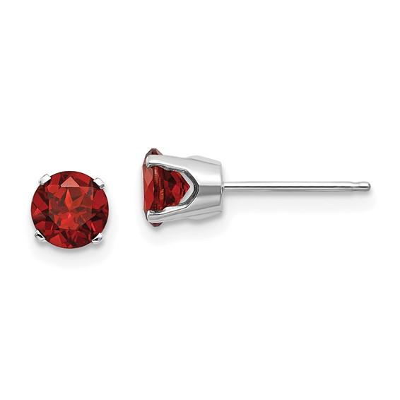 14kt White Gold 5mm Garnet Stud Earrings