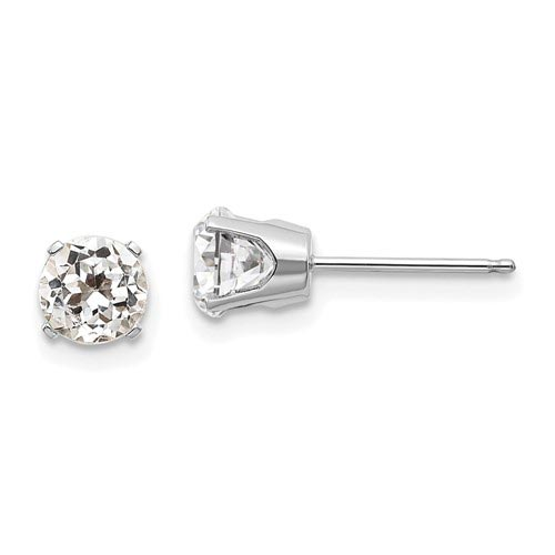 14kt White Gold 5mm White Topaz Stud Earrings